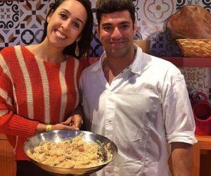 Nathália Araújo e o chef Felipe Bronze