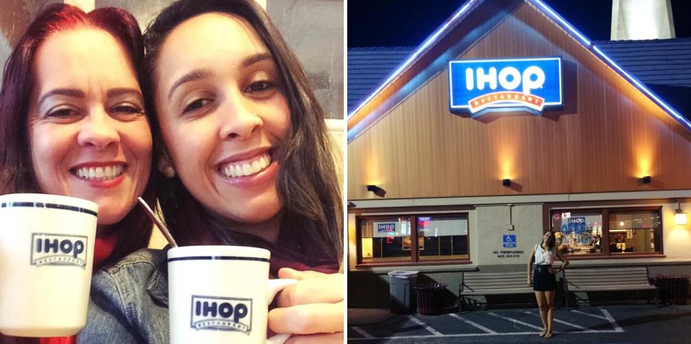Foto da esquerda: Nathália e Jeisa (mãe) degustam de um delicioso café na loja IHOP em Austin, Texas. Na foto da direita, Nathália visita a loja IHOP em Las Vegas, Nevada.